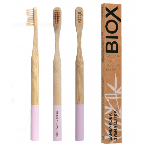 "Бамбуковая зубная щётка ""BIOX"" - Розового цвета"