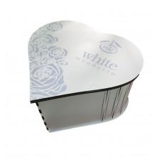 Коробка подарочная белая Сердце WM - ламинированное ДВП